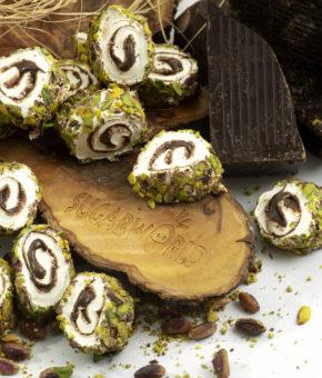 Sarma Sultan Çikolatalı Dışı Toz Antep Fıstık Kaplı Lokum